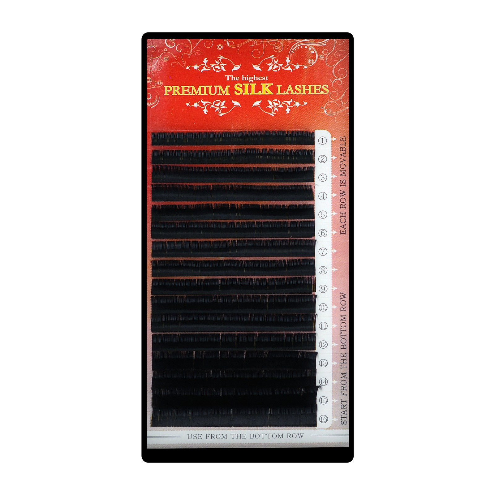 Premium Silk Lashes - Mix 16 linii, C, 0.10mm