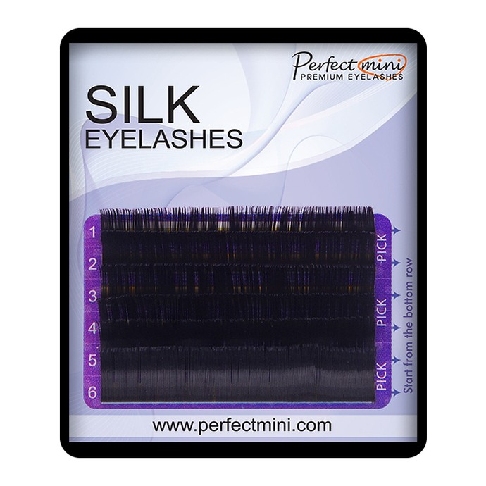 Premium Silk Lashes - Mix 6 linii, C, 0.07mm