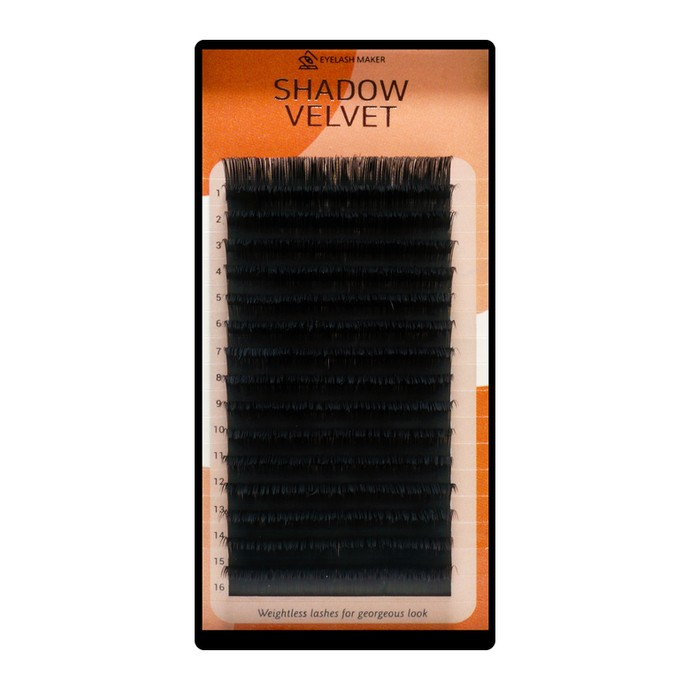 Shadow Velvet Lashes - Mix 16 linii, D, 0.07mm